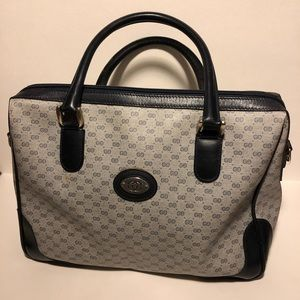 Vintage Gray & Navy Blue Gucci Purse/Tote